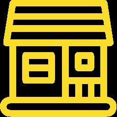 Das gelbe Symbol für das Ferienhaus Hanfbachhaus.