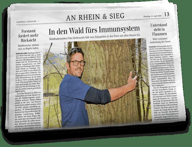 Eine Seite des General Anzeiger Rhein-Sieg mit einem Bild von Fritz Herkenrath. In dem Interview erklärt Fritz die Vorzüge und den medizinischen Nutzen von Waldbaden.