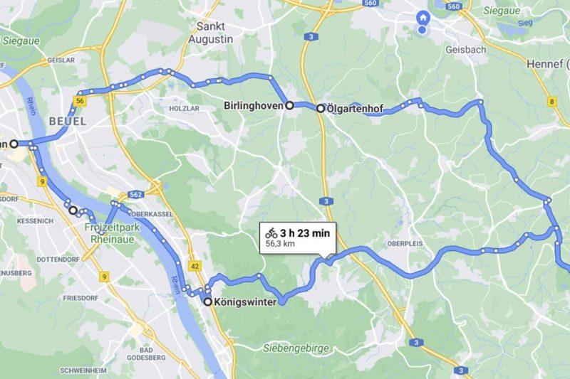 Karte einer Fahrradtour Rundstrecke durch das Siebengebirge.