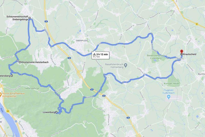 Karte einer Mountainbike Rundstrecke ab Krautscheid im Siebengebirge.
