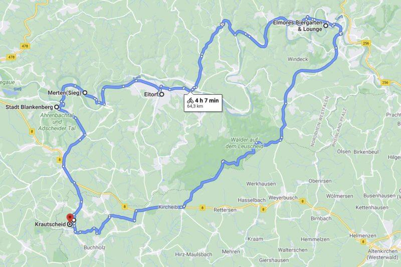Karte einer Mountainbike Rundstrecke ab Krautscheid im Westerwald.