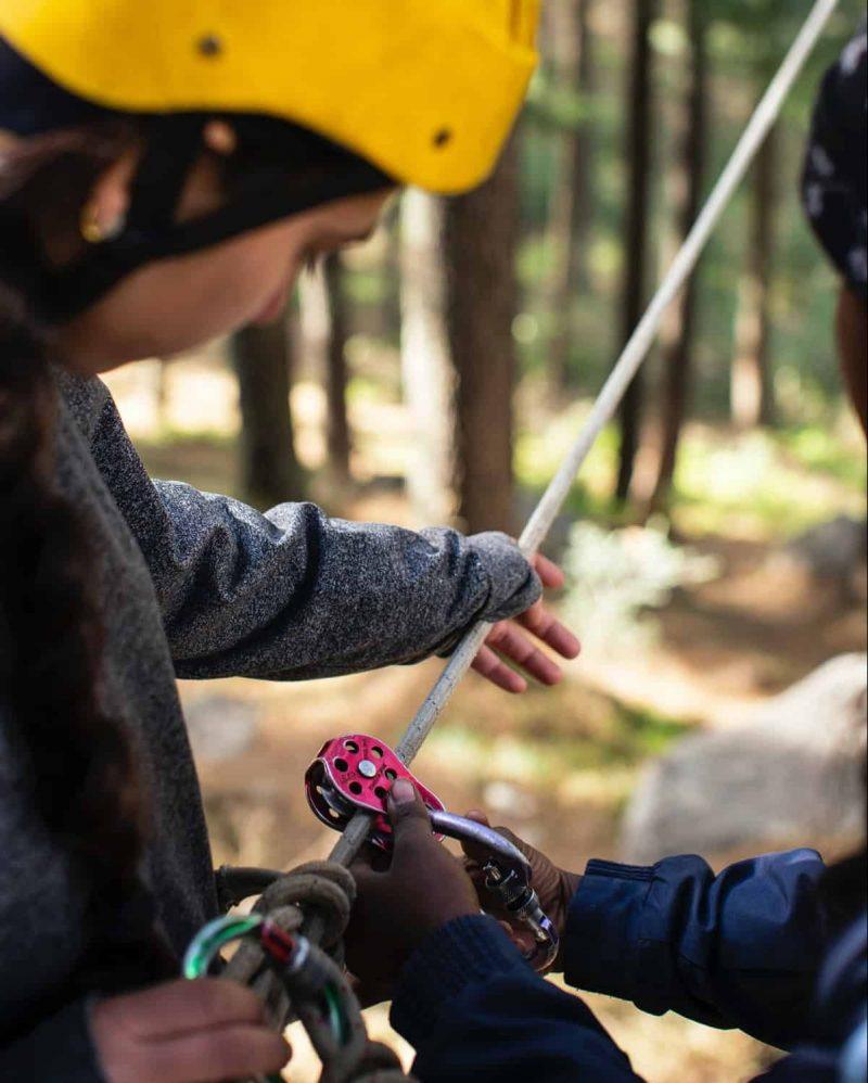Eine Person mit gelbem Helm bekommt das Anlegen eines Klettergeschirr für das Baumklettern erklärt.
