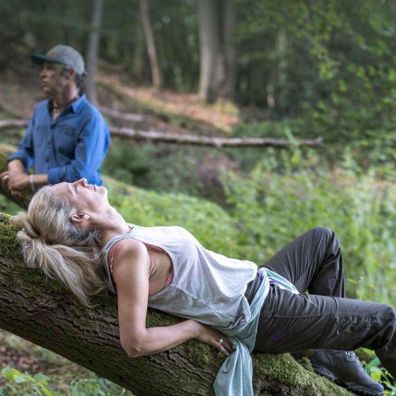 Eine entspannte Frau liegt mit geschlossenen Augen beim Waldbaden auf einem alten Baumstamm. Im Hintergrund Waldbademeister Tom Haass.