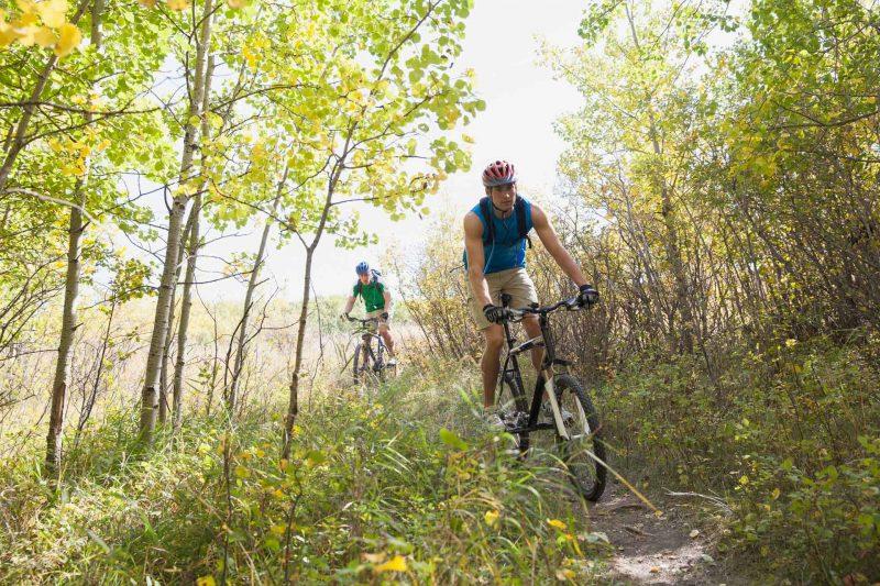 Mountainbiker mit RobinsWoods Naturerlebnisse auf einem leichten Singletrail im Westerwald.