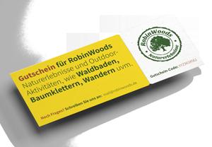 RobinWoods Online-Gutschein als Werbeanzeige in der Angebotsübersicht.