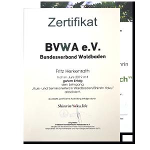 Zertifikate der beiden geprüften Seminarleiter für Waldbaden Tom Haass und Fritz Herkenrath